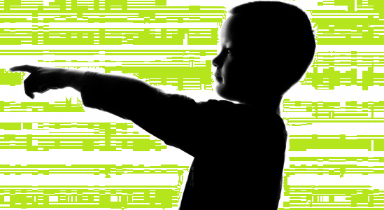 Silhouette of Child Pointing to the Left